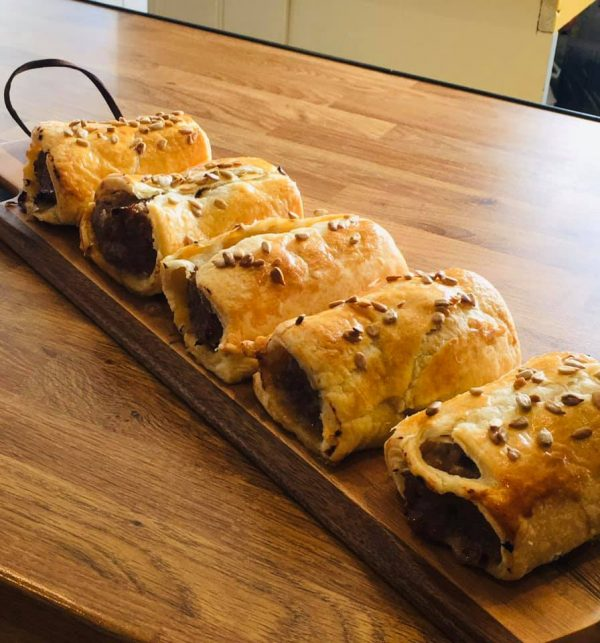 Home made sausage rolls, made with Bampton Sausage meat.